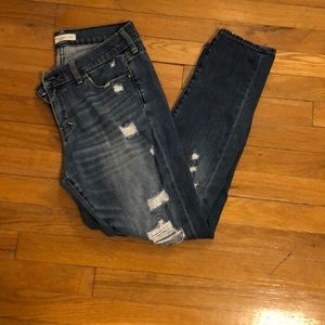 Ripped light wash Abercrombie boyfriend jeans
